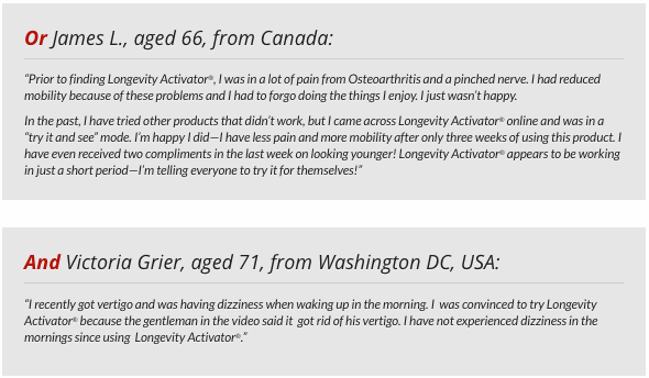 longevity activator testimonials